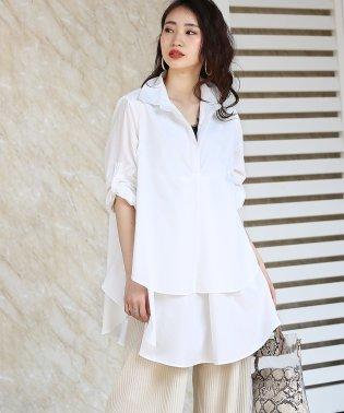 裾フレア◆レイヤードシャツチュニック