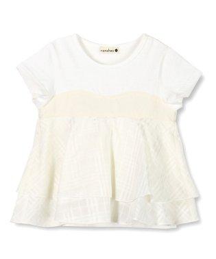チェック柄重ね着風半袖Tシャツ(80~150cm)