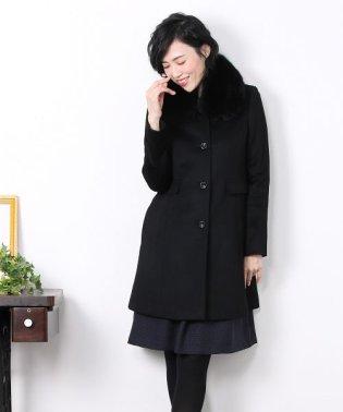 カシミヤ 100% マル衿 コート フォックス ファー襟付き 着丈85cm レディース