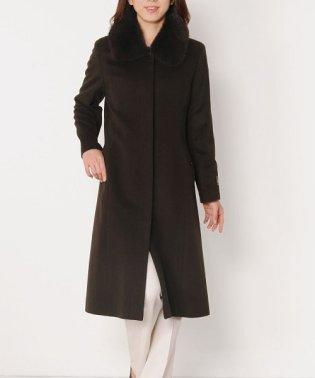 カシミヤ 100% ステンカラー ロングコート フォックスファー付き