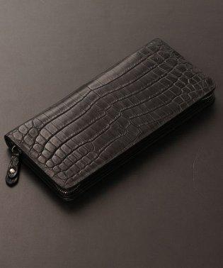 クロコダイル 長財布 ラウンドファスナー マット 加工 センター取り 一枚革 薄型 バイカラー / 大型財布 / レディース