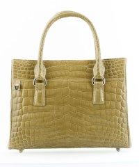 ヘンローン社製のナイルクロコダイルを使用したシャイニング加工のハンドバッグ