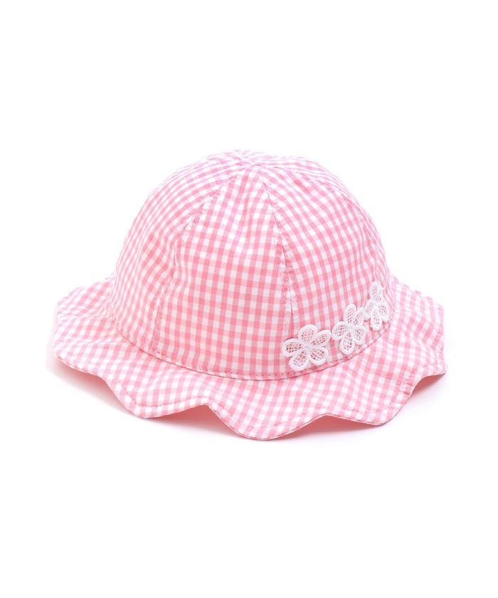 ベビーギンガムチェックUVカット帽子