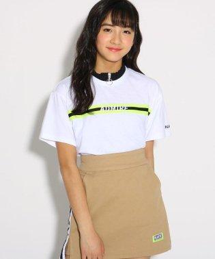 ★ニコラ掲載★襟メローZIP胸テープ Tシャツ