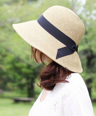 柔らか素材シンプルリボン麦わら帽子