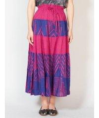 【チャイハネ】アフリカン幾何学柄ティアードスカート IDS-9137