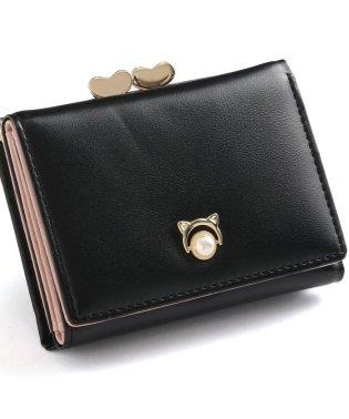 ハートデザインがま口三つ折り財布
