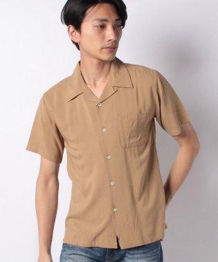 無地半袖オープンカラーシャツ