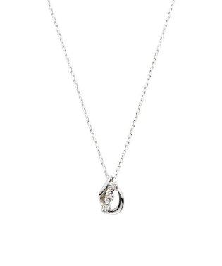 K10WG ダイヤモンド0.010 CT ドロップモチーフ ネックレス