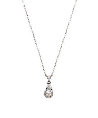 K10WG ダイヤモンド0.010 CTドロップモチーフ ネックレス