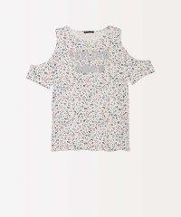 オープンショルダーフラワー半袖Tシャツ・カットソー