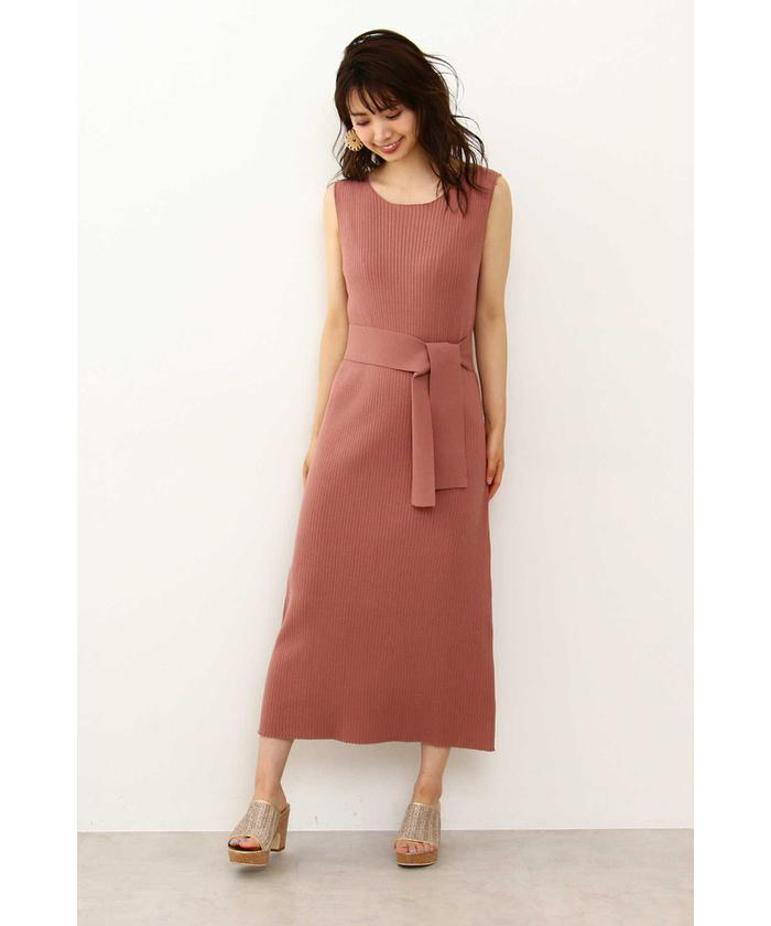 ◆ロングリブニットドレス