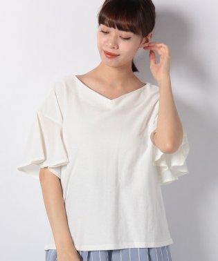 ◆デイリー使いにおすすめ◆袖フリルツイルTシャツ