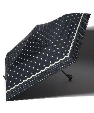 スカラップドットプリント晴雨兼用折たたみ傘 日傘
