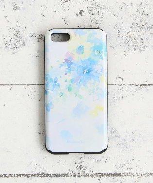 【ミラー付き】水彩フラワー柄iPhone8/7バンパーケース