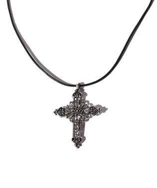 装飾クロス本革ネックレス シルバー