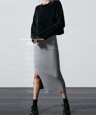 N.Vogue(エヌヴォーグ)サイドスリットリブ編みスカート-1