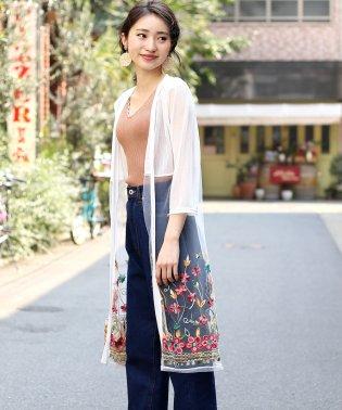◆大注目トレンドアイテム◆シースルーカラー裾刺繍カーディガン