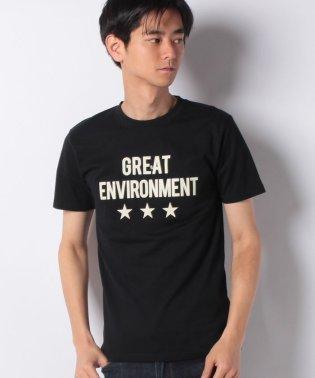 スター&ロゴプリントクルーネック半袖Tシャツ