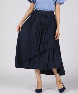 割繊サテンアシメギャザースカート