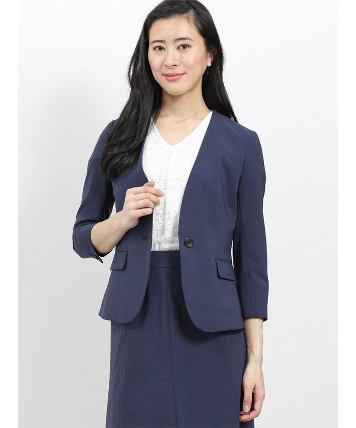 エバレット/EVARET ノーカラー7分袖ジャケット+スカート 紺