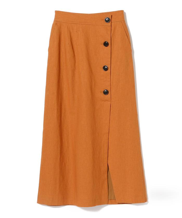 Ray BEAMS / コットン リネン ラップ マキシ スカート