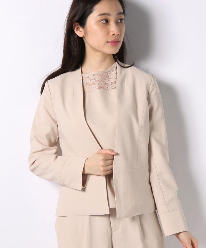 【セットアップ対応商品】バックサテンジョーゼット素材カラーレスジャケット