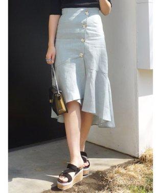釦付リネンマーメードスカート