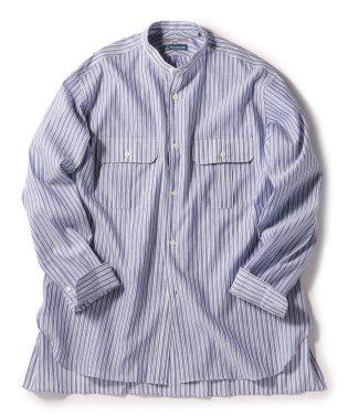 SU: Herdmans コットン/リネン ストライプ バンドカラー ボックスシャツ