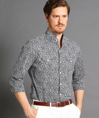 スタンドカラー小花柄7分袖シャツ