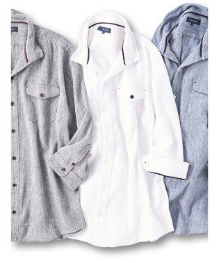 COOLMAXフレンチリネン混ヘリンボン衿ワイヤー7分袖シャツ