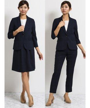 クールベスト 1釦7分袖ジャケット+パンツ+スカート 紺チェック