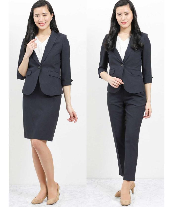 フォルモザ/FORMOZA 1釦7分袖ジャケット+パンツ+スカート 紺千鳥