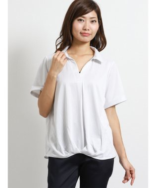 BIZ ストライプ柄半袖スキッパーシャツ