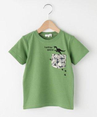 【吸水速乾】【150cmまで】恐竜×リーフポケットコットンTシャツ