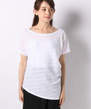 スラブ織ボーダーアシンメトリーフレンチ半袖Tシャツ・カットソー