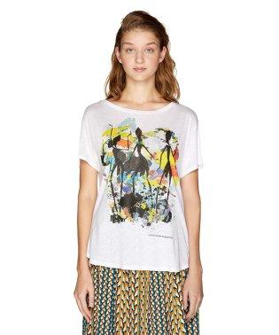 クルーネックドロッププリント半袖Tシャツ・カットソー