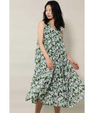 Cotton Voile Flower Tiered Dress