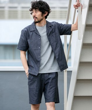 【WEB限定】リカバーブルーオープンカラーシャツ&ショーツセットアップ