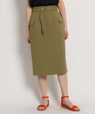 【Lサイズあり】【洗える】リネン調フラップタイトスカート