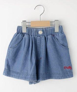 【150cmまで】デニムポケット リボンショートパンツ