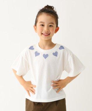 【110cm~160cm】ハート刺しゅうフレア袖Tシャツ