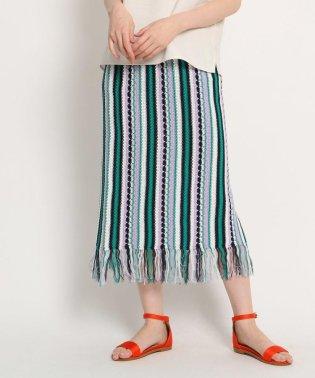 【洗える】ストライプ柄ニットロングスカート