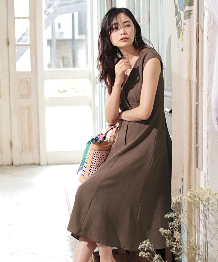 ★ボタンフロントドレス
