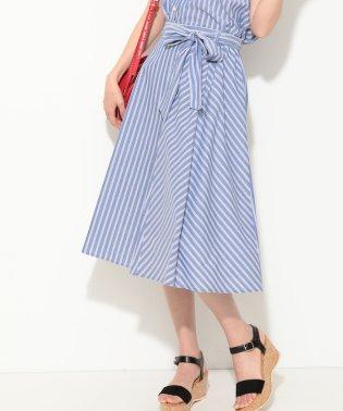 【セットアップ対応】【EASY CARE】ストライプギャザースカート