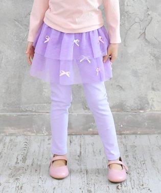 リボン付チュール×レギ付スカート