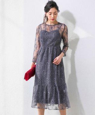 kaene/チュールレース七分袖ロングドレス