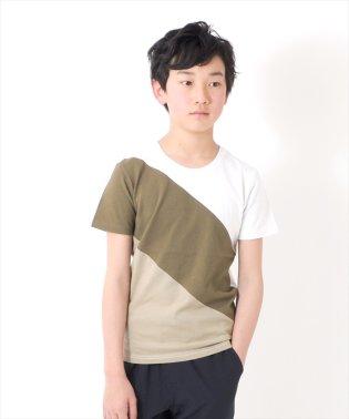 カラーブロック半袖Tシャツ