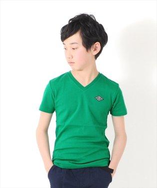 ポイント刺繍ワッペンVネック半袖Tシャツ