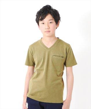 製品染めポケットデザインVネック半袖Tシャツ
